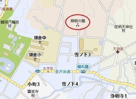 頼朝の墓地図